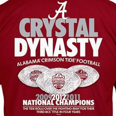 Alabama Crimson Tide 2012 BCS National Champions - Crystal Dynasty - 3 National Titles in 4 years!!