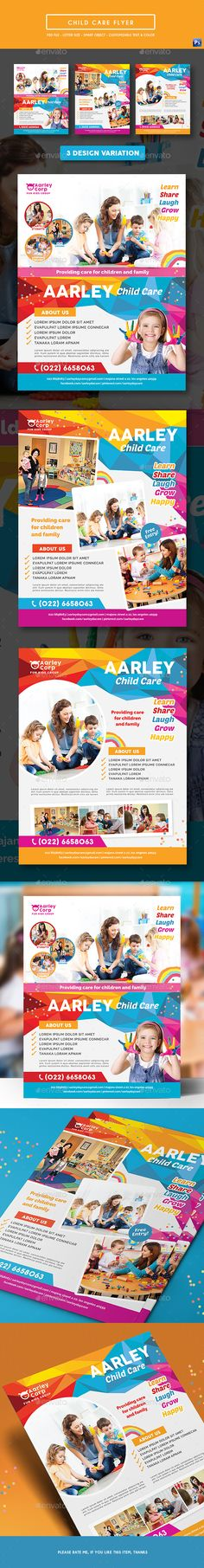 Child Care #Flyer - #Corporate Flyers Download here: https://graphicriver.net/item/child-care-flyer/19589403?ref=alena994