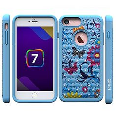 iPhone 7 Case, Inch] by HLCT, Soft Interior Silicone Bumper & Hard Shell Solid PC Back, Shock-Absorption & Skid-Proof, Anti-Scratch Hybrid Dual-Layer Slim Cover (Blue Flower) Buy Iphone 7, Iphone 7 Plus Cases, Mac Software, Gaming Headphones, Blue Flowers, Shells, Cover, Slim, Amazon