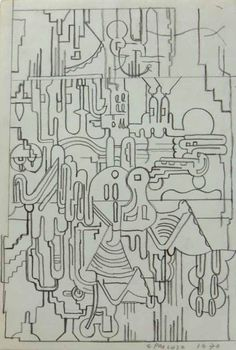 Eduardo Paolozzi Untitled 1970, Pencil on paper 30.5 x 23 cm