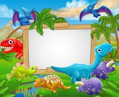Buy Cartoon Dinosaurs Sign by Krisdog on GraphicRiver. A sign surrounded by cute cartoon dinosaur characters Die Dinos Baby, Baby Dinosaurs, Dinosaur Images, Cartoon Dinosaur, Dinosaur Background, Background Banner, Dinosaur Birthday Cakes, Dinosaur Cake, Dinosaur Party Invitations