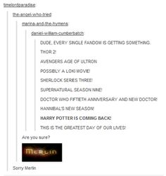 We Merlinians got the short end of this particular stick! <- You're darn right we did!