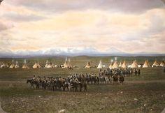 Outside Blackfeet camp. Montana. Early 1900s. Glass lantern slide by Walter McClintock.