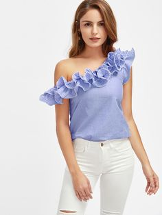 SheIn offers Lettuce Edge Frill Asymmetric Shoulder Striped Top & more to fit your fashionable needs. One Shoulder Ruffle Top, One Shoulder Tops, Buy My Clothes, Clothes For Women, White Short Sleeve Tops, White Tops, Red Tops, Look Fashion, Fashion Outfits