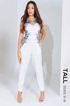 5506faa5c096 Cream Embroidered Panel Tall Jumpsuit Size 12 Uk