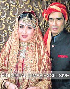 On her Nikaah wedding ceremony with Saif Ali Khan Oct 17, 12 Kareena Kapoor wears her mom in law Sharmila Tagore Khan's heritage orange gold Sharara (bifurcated Lehenga) with heavy golden work in ethnic Pataudi style, their Family Heirloom, resorted by Designer Manish Malhotra, standing alongside.