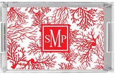 Monogrammed Lucite Tray RED CORAL by Pink Wasabi Ink