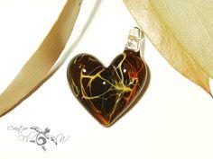 Heart Love Exotic Lightning Heart Pendant by CreativeFlowGlass