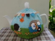 HAND KNITTED SUMMER DAYS TEA COSY CARAVAN HEDGEHOG AND BUNTING MEDIUM TEAPOT