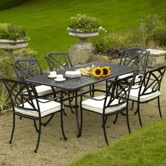 Elegant Classy Cast Aluminum Outdoor Furniture: Valencia Rectangle Cast Aluminum  Outdoor Furniture Set ~ Exterior