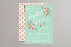 Printable Bridal Shower Invitation (mint & peach) - Vintage Floral Invitation - Spring/Summer Bridal Shower
