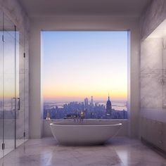This is what a bathtub view in the new 432 Park Avenue building in New York City is going to look like. The new building will be completed in 2015 and will be the largest residential building in the Western hemisphere.