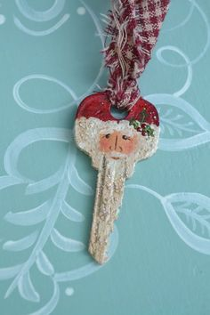 Dipinto Santa chiave ornamento a mano / Handmade Santa / Art chiave / ornamento di Natale