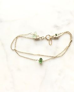 Mixed metal sterling silver & gold green Tourmaline bracelet by LilBlueFishOfLille