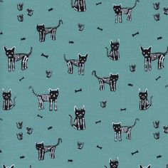 Cotton and Steel House Designer - Boo - My Pet Skeleton in Teal