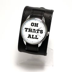 Thats all folks - new cuff watches with black genuine leather band by Pride&Bright. Cuff Watches, Star Watch, Black Leather Watch, Leather Cuffs, Funny Design, Minimalist Fashion, All Things, Pride, Quartz