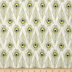 Designed by Veronique Charron for Timeless Treasures, this cotton print fabric features rows of beautiful peacock feathres with a touch of metallic to take it over the top. Perfect for quilting, apparel and home decor accents. Colors include cream, shades of grey, metallic gold, green, blue and navy.