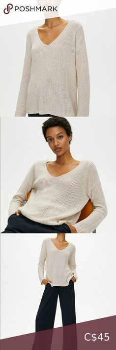 The Group by Babaton - Skylar Sweater Worn a couple times this summer! Really cute relaxed fit! Babaton Sweaters Merino Wool Sweater, Wool Cardigan, Sweater Jacket, Wool Sweaters, Cashmere Sweaters, Cream Sweater, Pink Sweater, Oversized Cardigan, Sweaters For Women