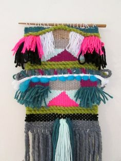 Bright Coloured Woven Wall Hanging/ Woven Tapestry/ Weaving/  Fibre Art