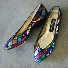 """Vintage Sequined Shoes 8.5 Amazing multicolor sequined harlequin patterned low heel shoes. Approx 1"""" heel. Semi pointy toe. Like amped up ballerina flats. Size 8.5 Valenti Franco Collection I wear 8 and they work (my feet are on the wide side) for more narrow feet, I'd say better for 8.5 Mild wear. Soles show some wear, plenty of wear left. Stray thread or two. Clean interior. Great overall condition. So cool and unique.  No trades Valenti Franco Shoes Flats & Loafers"""