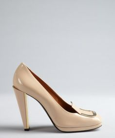 style #328223201 powder pink patent leather buckle detail stacked heels