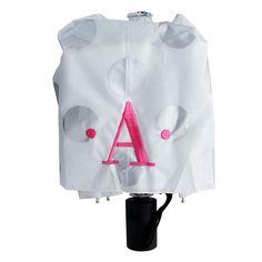 Silver Dots Monogram Umbrella | underthecarolinamoon.com  You can brighten even the rainiest of days with this monogrammed umbrella. #UTCM #UnderTheCarolinaMoon #Umbrella #monogram #MonogramUmbrella #monogrammedUmbrella #SilverDot #PolkaDots