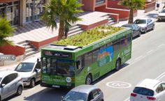 Busses with green roofs! Neat.  green bus roof, green roof on bus, green space as air purifier, green space in cities, lightweight hydroponic foam, marc graben, photo kinetic, spain