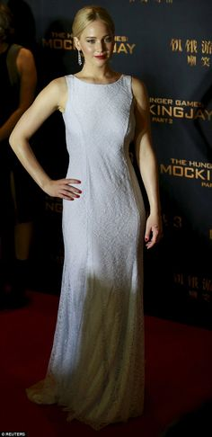 Jennifer Lawrence recovered from her red carpet fall in Madrid as she attended The Hunger Games Mockingjay - Part 2 premiere in Beijing, China, on Wednesday evening November 11, 2015