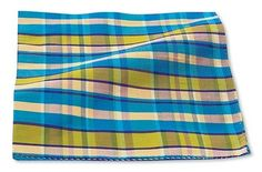 Pocket Squares are cool! - Blue/Yellow/Green Dupioni Plaid Pocket Squares