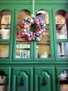 Christmas Ornament Wreath on Chalk Paint China Cabinet - Mommy Is Coo Coo