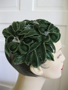 ~1950s vintage fascinator~ velvet flower half hat #millinery #judithm #hats
