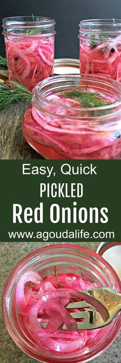 Pickled Red Onions ~ easy and quick to make ~ this bright, zesty condiment is delicious on salads, burgers, hot dogs and even tacos. #redonion #pickledonions #onions #condiments