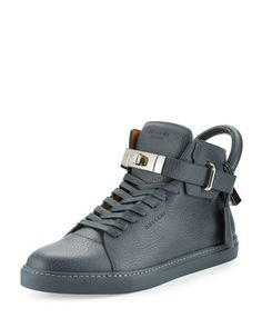 100mm+Men\'s+Leather+High-Top+Sneaker,+Dark+Gray+by+Buscemi+at+Bergdorf+Goodman.