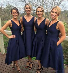 Classic A-line V-neck Navy Blue High Low Bridesmaid Dress bridesmaid,bridesmaid dress,bridesmaid dresses,long bridesmaid dress