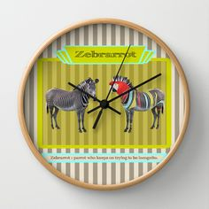 the Almost incognito Parrot Wall Clock by AmDuf - $30.00