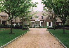 Country House Renovation 01 By Spitzmiller & Norris, Inc. - LOVE the driveway, but high maintenance Dream House Exterior, House Exteriors, Old Houses, Gray Houses, Elegant Homes, Classic House, The Ranch, Architecture Details, Curb Appeal
