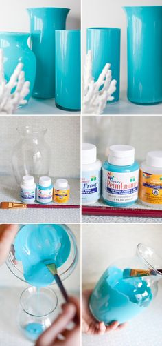 LOVE this idea of how to refinish clear vases. I did it with Mason Jars.