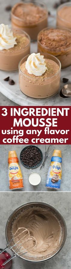 Learn how to make 3 ingredient mousse using any flavor of coffee creamer! The flavored creamer gives the mousse AMAZING flavor! (Chocolate Mousse Shooters)