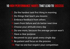 10 high performance habits that lead to success
