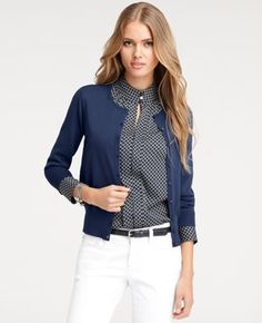 Basic Blue Cardigan , cute printed blouse, skinny belt, and crisp white trousers .... oh yes I will!