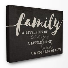 """Stupell Home Decor """"Family"""" Crazy Loud Love Canvas Wall Art Canvas Wall Art Quotes, Diy Canvas Art, Wall Canvas, Canvas Ideas, Canvas Word Art, Canvas Quote Paintings, Canvas Crafts, Family Canvas, Family Painting"""