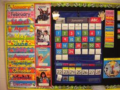 This teacher's colorful display for the months of the year and she uses a pocket chart to display the current month and date.
