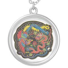 Yin Yang Phoenix and Dragon Necklace
