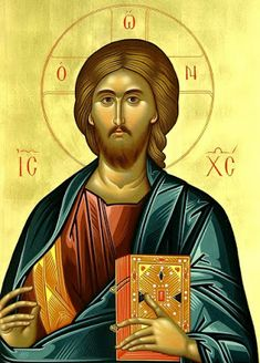 """Orthodox icon of our Lord Jesus Christ """"Pantocrator"""" or """"Blessing"""". Contemporary icon by the iconographer Dionysios Fentas. (Greece) The name of the store on the icon is just a watermark. The icon will NOT HAVE it. Religious Images, Religious Icons, Religious Art, Byzantine Icons, Byzantine Art, Christus Pantokrator, Christian Artwork, Jesus Prayer, Jesus Christus"""