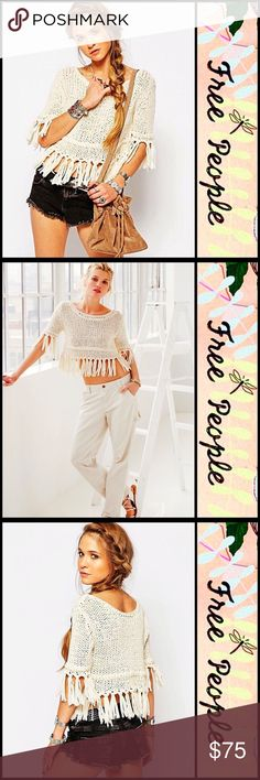 """Free People Boho Tassel Fringe Sweater 💟 NEW WITH TAGS 💟 RETAIL PRICE $108   SIZING- M = 8-10, L = 12-14  Free People Boho Tassel Fringe Sweater  * Super soft fabric  * Relaxed, loose knit slouchy pullover, & oversized style  * Boatneck; Elbow length sleeves  * Tassel Fringe trim  * Approx 25"""" Long  Fabric: 100% cotton  Color: Ivory Item#   SEARCH# embellished fair isle  🚫No Trades🚫 ✅ Offers Considered*✅  *Please use the blue 'offer' to submit an offer Free People Sweaters Crew & Scoop…"""