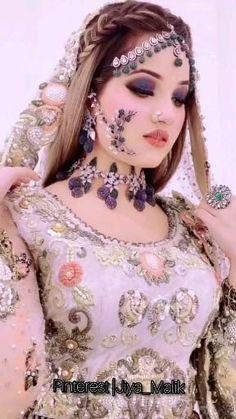 Pakistani Fashion Party Wear, Pakistani Wedding Outfits, Indian Bridal Fashion, Pakistani Bridal, Bridal Outfits, Bridal Eye Makeup, Bridal Makeup Looks, Stylish Dresses For Girls, Frocks For Girls