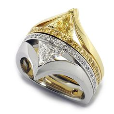 Siblings Collection - 0.55ct Fancy Yellow Trillion Cut Diamond accented with Fancy Yellow Round Brilliant Cut Diamonds set in 18K Yellow Gold. coffinandtrout