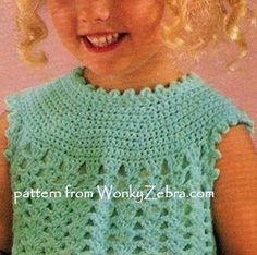 Patrón de Crochet Vintage niñas vestido B126 PDF de WonkyZebraBaby Un lindo y dulce pequeño crochet vestido para hacer de este patrón vintage PDF. Tiene un precioso yugo en puntadas llanas y muy simple shell stitch falda. Es rápido para batir para arriba - pero también fácilmente podría agregar una falda de tela para el yugo para una variación; sólo tiene que utilizar un rectángulo en! ¡Lo bonito como un vestido de Dama de honor única (y barato)! POR FAVOR RECORRA LAS IMÁGENES POR ENCIMA…