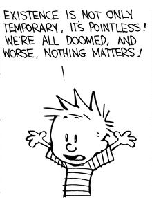 Calvin and Hobbes, The Big Picture (3 of 4 DA) - Existence is not only temporary, it's pointless! We're all doomed, and worse, nothing matters!