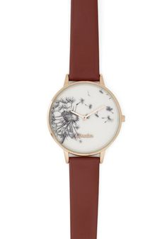 Follow the Wind Watch by Louche - Floral, Casual, Gold, Black, White, Brown, Luxe, Statement, Darling